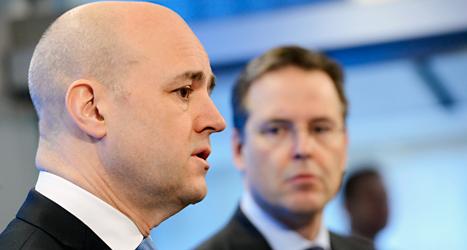 Statsminister Fredrik Reinfeldt och finansminister Anders Borg berättar om Moderaternas planer. Foto: Bertil Enevåg Ericson /TT.