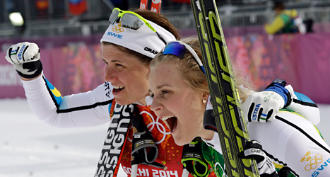 Ida Ingemarsdotter och Stina Nilsson tog brons i sprint. Foto: Lee Jin-man /TT