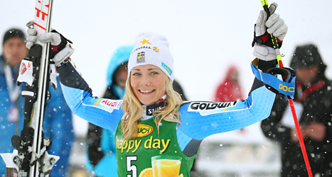 Frida Hansdotter vann sin första seger i slalom i världscupen. Foto: Giovanni Auletta/TT.