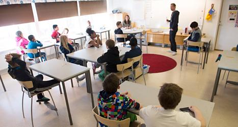 Eleverna i en skola i Enköping. Foto: TT.