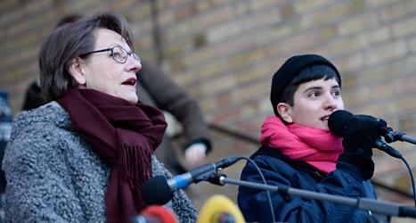 Gudrun Schyman och Sissela Nordling Blanco är talespersoner för partiet Feministiskt Initiativ. Foto: TT.