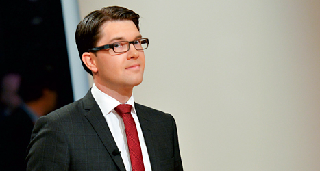 Sverigedemokraternas ledare Jimmie Åkesson. Foto: TT.