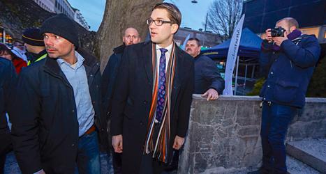 När Sverigedemokraternas ledare Jimmie Åkesson pratar blir det ofta protester. Foto: TT