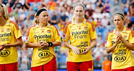 Fotbollsklubben Tyresö har stora skulder och kan tvingas sluta. Foto: Christine Olsson/TT.