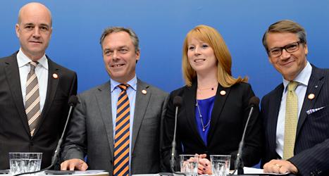 Ledarna för partierna i regeringen. Foto: TT.