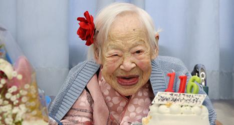 Misao Okawa är 116 år gammal. Foto: Yoshiko Moriya/TT