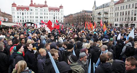 Tusentals människor i Malmö protesterade mot nazismen.  Foto: Stig-Åke Jönsson/TT.