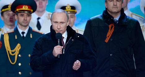 Vladimir Putin talade i den ryska riksdagen på tisdagen. Foto: Alexei Nikolsky/TT.