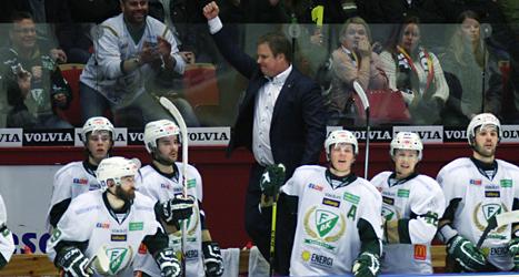 Färjestads spelare jublar efter segern mot Brynäs. Foto: Mats Östrand/TT