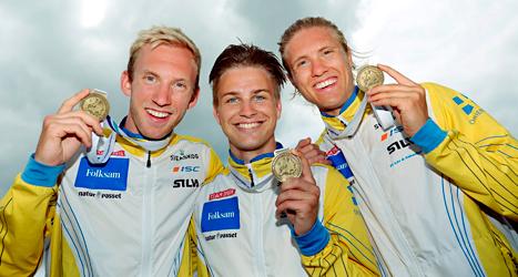 Sveriges herrar tog guld i EM-stafetten i orientering. Foto: Sören Andersson/TT.