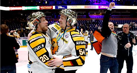 Skellefteås spelare jublar över SM-guldet i ishockey. Foto: Linn Malmén/TT.