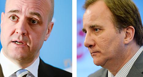Moderaternas ledare Fredrik Reinfeldt och Socialdemokraternas ledare Stefan Löfven. Foto: Leif R Jansson och Per Larsson/TT.