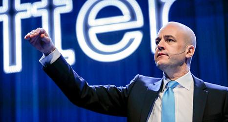 Statsminister Fredrik Reinfeldt pratar på Moderaternas möte i Göteborg. Foto: TT