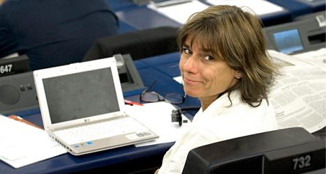 Isabella Lövin från Miljöpartiet är den EU-politiker som är med på flest möten med sitt utskott. Foto: TT