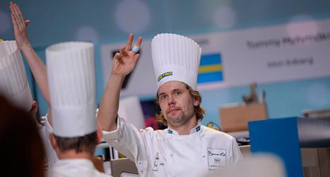 Den svenske kocken Tommy Myllymäki vann Europamästerskapet i matlagning. Foto: Per Larsson/TT.