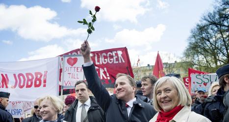 Socialdemokraternas ledare Stefan Löfven gick först i demonstrationen på 1 maj. Foto: Foto: Jessica Gow /TT