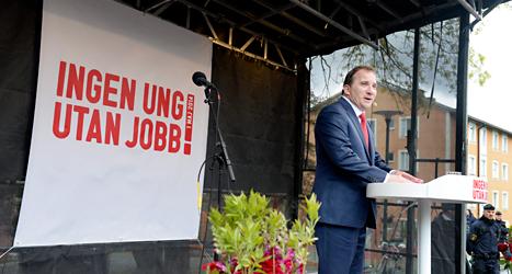 Socialdemokraternas ledare Stefan Löfven talade i Stockholm. Foto: Jessica Gow /TT