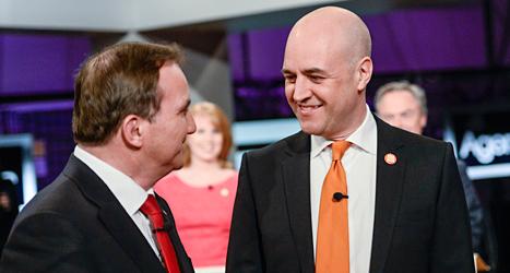 Socialdemokraten Stefan Löfven och Moderaten Fredrik Reinfeldt är huvudmotståndare i valet till riksdagen i höst. I söndags möttes de  och de andra partiledarna i en debatt i tv. Foto: Maja Suslin/TT.