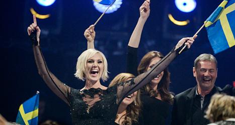 Sanna Nielsen sjunger i Eurovision Song Contest. Foto: Janerik Henriksson/TT.