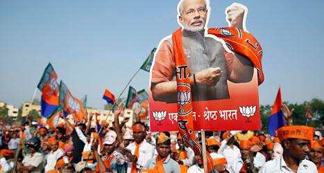 I måndags var det sista dagen att rösta i valet i Indien. På fredag får vi veta hur det gick i valet. Foto: Kumar Singh/TT.