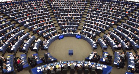 Bilden visar EU-parlamentet i Strasbourg. Foto: Henrik Montegomery/TT.