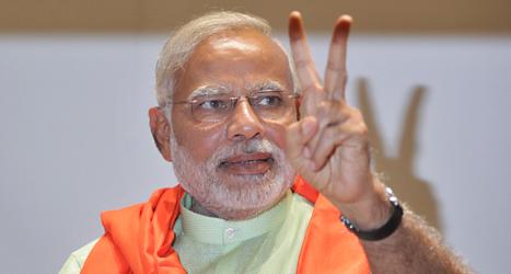Narendra Modi blir Indiens nya ledare. Hans parti BJP vann valet överlägset. Foto: Ajit Solank/TT.