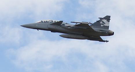 Stridsflygplanet Jas Gripen görs av företaget Saab i Linköping. Foto: Peter Klauzer/TT.