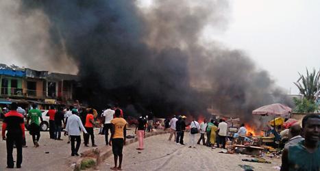 Här sprängdes två kraftiga bomber på tisdagen. Fler än hundra människor dödades. Foto: Stefanos Foundation/TT.
