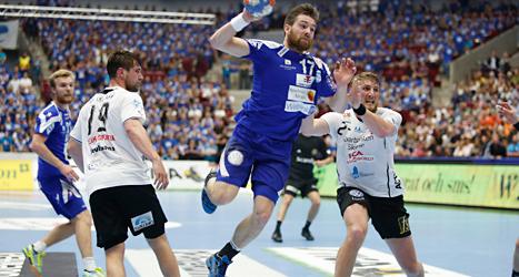 Alingsås vann SM-finalen i handboll mot Lugi från Lund. Foto: Drago Prulovic/TT.