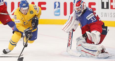 Sverige vann matchen om tredje pris i mot Tjeckien i ishockey-VM. Sverige vann med 3-0. Foto: Darko Bandic/TT.