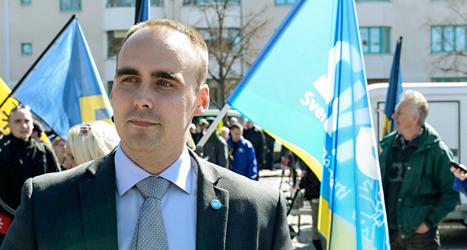 Stefan Jacobsson är ledare för det högerextrema partiet Svenskarnas parti. Foto: Mikael Fritzon/TT.