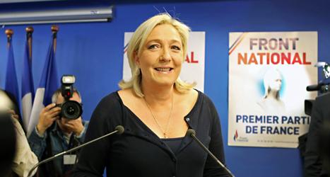 Det verkar har gått bra för Marine Le Pens parti Nationella Fronten i EU-valet. Foto: AP/TT