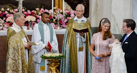 Prinsessan Leonore döptes i helgen. Foto: Jessica Gow/TT.