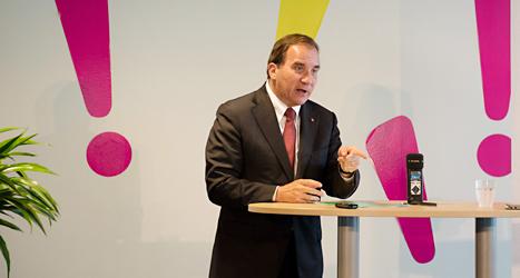 Stefan Löfven pratar om Socialdemokraternas politik för jämställdhet. Foto: TT