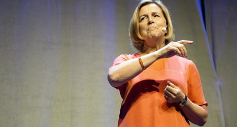 Regeringens jämställdhetsminister Maria Arnholm pratade när mötet i Malmö startade. Foto: TT