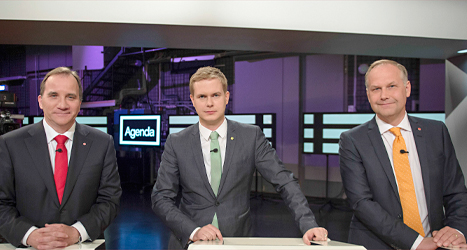 Socialdemokraternas Stefan Löfven, Miljöpartiets Gustav Fridolin och Vänsterpartiets Jonas Sjöstedt. Foto: TT