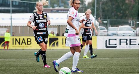 Inga mål av Marta da Silva när hon spelade med Rosengård för första gången. Foto: AnnaKarin Drugge/TT