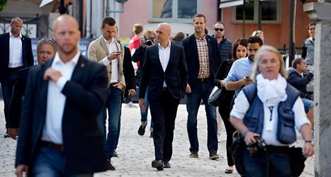 Statsminister Fredrik Reinfeldt är i Visby på Moderaternas dag. Foto: TT