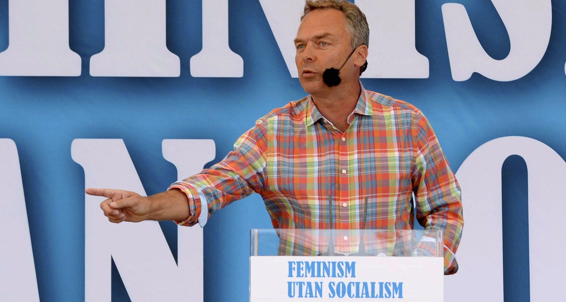 Folkpartiets ledare Jan Björklund pratade om politik i Almedalen. Foto: Janerik Henriksson /TT