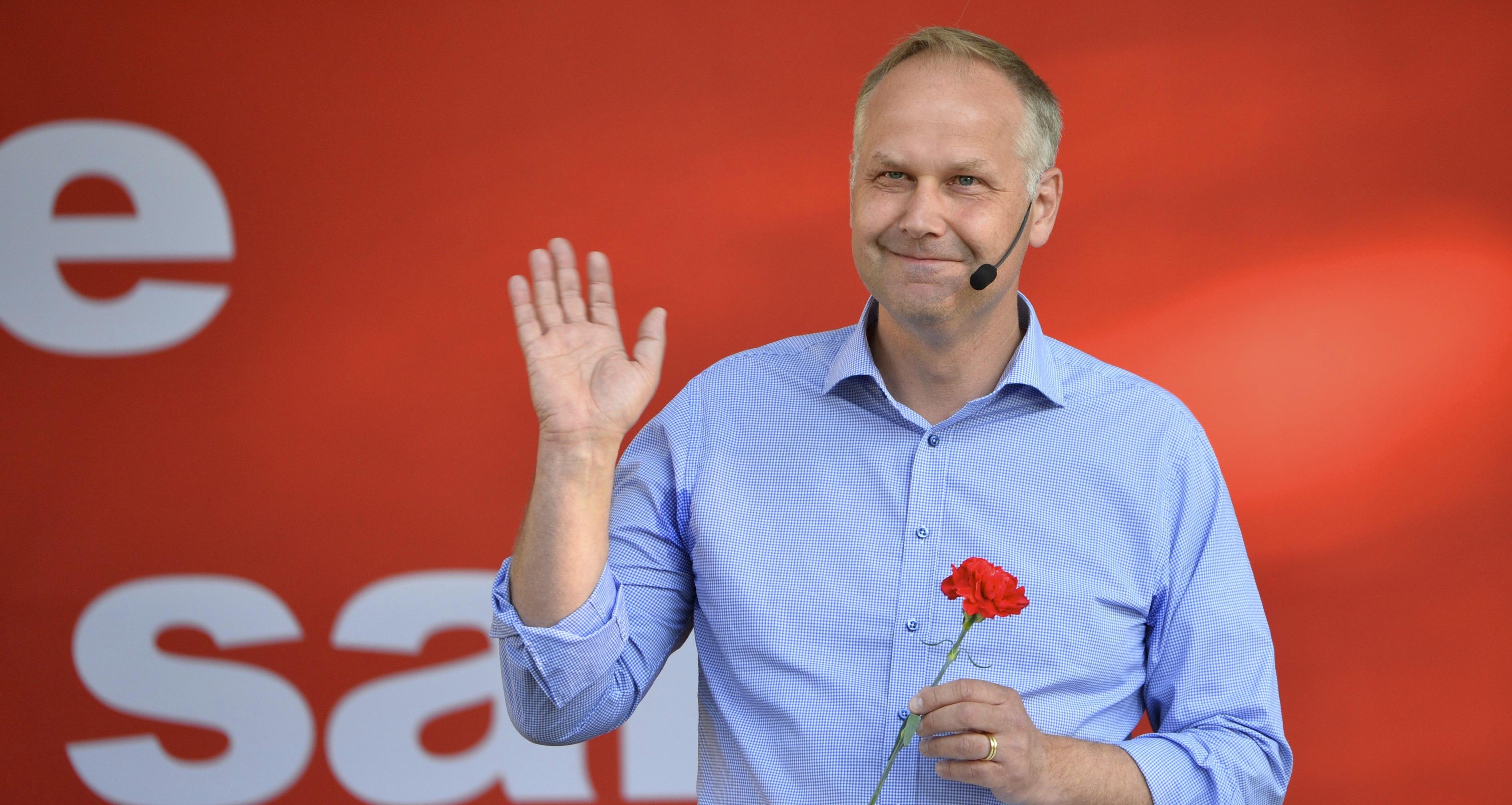 Vänsterpartiets ledare Jonas Sjöstedt pratade om politik i Almedalen. Foto: Henrik Montgomery/TT