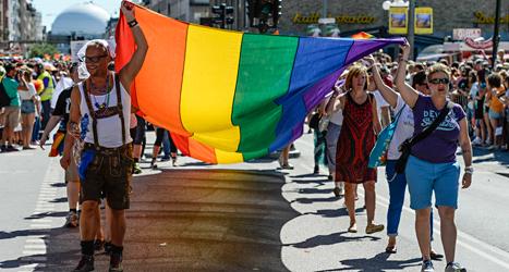 Många partier säger att de vill ha en politik som är bra för homosexuella. Bilden är från Prideparaden 2013. Foto: Leif R Jansson/TT