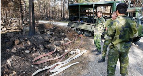 Militärer har hjälpt till att stoppa branden i Västmanland. Foto: Fredrik Persson /TT