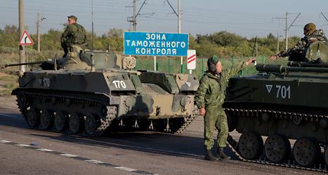 Ryska soldater nära gränsen till Ukraina. Foto: Pavel Golovkin /TT