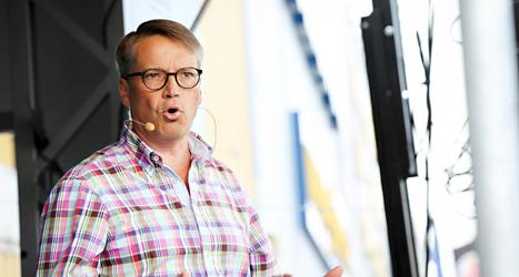 Kristdemokraternas ledare Göran Hägglund håller tal. Foto: Björn Larsson Rosvall/TT