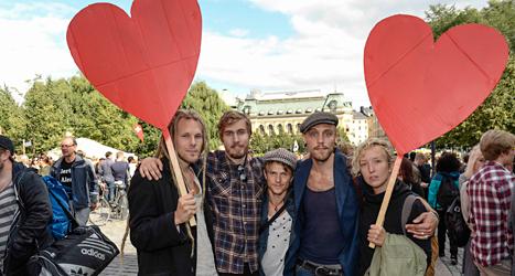 Folk i Stockholm demonstrerade mot nazisterna i Svenskarnas parti. Maja Suslin/TT.