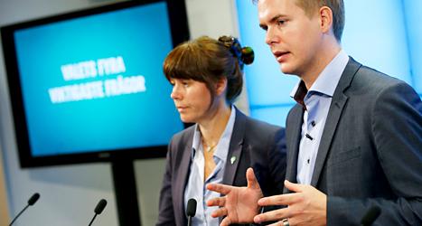 Miljöpartiets ledare Åsa Romson och Gustaf fridolin. Foto: Fredrik Persson/TT.