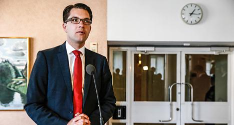 Jimmie Åkesson är ledare för partiet Sverigedemokraterna. Foto: Fredrik Persson/TT.