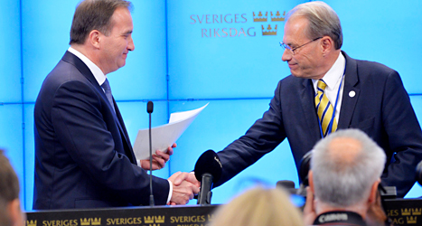 Socialdemokraternas ledare Stefan Löfven träffar talmannen Per Westerberg. Foto: Henrik Montgomery /TT