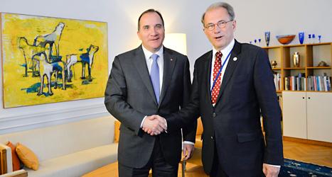 Socialdemokraternas ledare Stefan Löfven och riksdagens talman Per Westerberg. Foto: Henrik Montgomery /TT