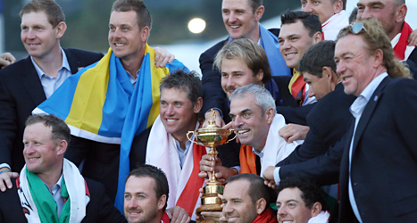 Europas lag vann över USA i golf. Foto: Scott Heppell/TT.